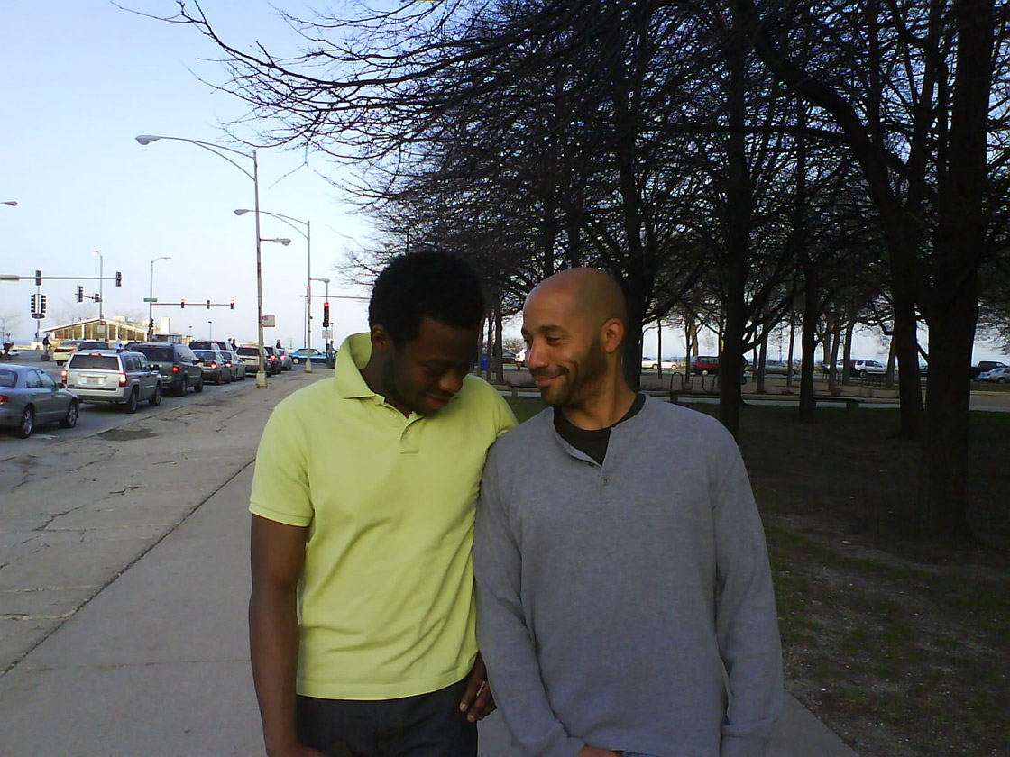 Wright with his brother near Navy Pier, Chicago. Photo courtesy of David Wright.