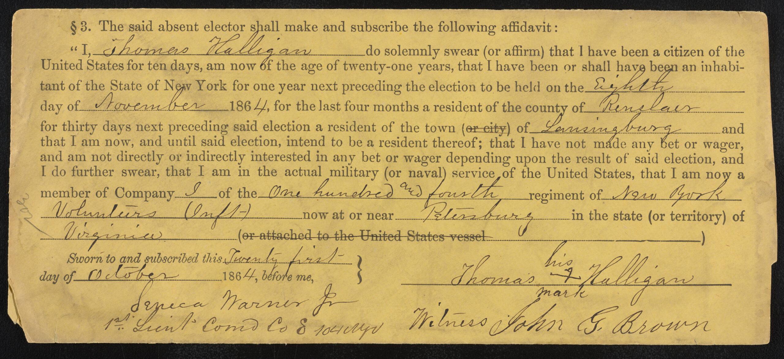 1864 affidavit envelope
